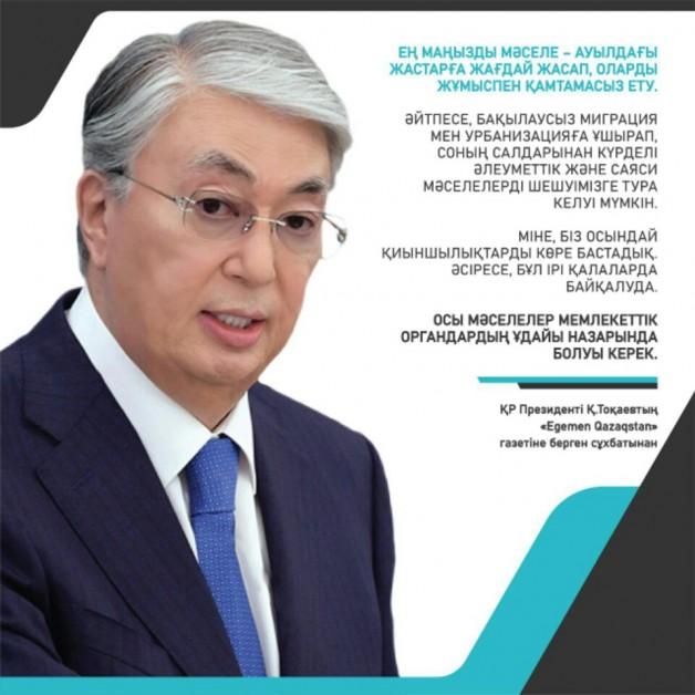ҚР Президенті Қ. Тоқаевтың «Egemen Qazaqstan» газетіне берген сұхбатынан